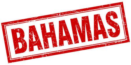 bahamas: Bahamas red square grunge stamp on white Illustration