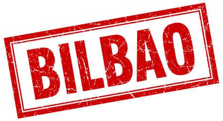 bilbao: Bilbao red square grunge stamp on white Illustration
