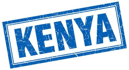 kenya: Kenya blue square grunge stamp on white