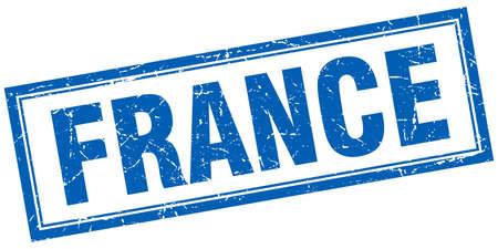france stamp: France blue square grunge stamp on white