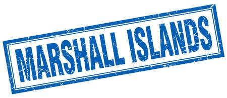 marshall: Marshall Islands blue square grunge stamp on white Illustration