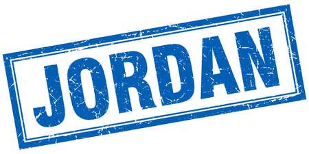jordan: Jordan blue square grunge stamp on white Illustration