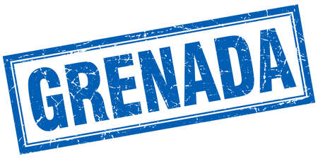 grenada: Grenada blue square grunge stamp on white