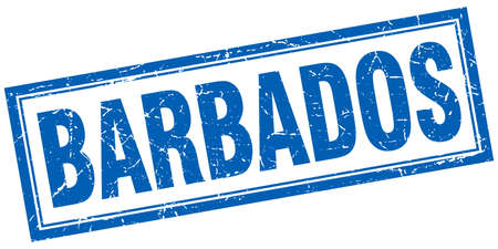 barbados: Barbados blue square grunge stamp on white Illustration