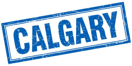 calgary: Calgary blue square grunge stamp on white