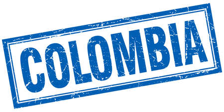 colombia: Colombia blue square grunge stamp on white