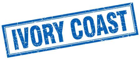 ivory: Ivory Coast blue square grunge stamp on white