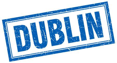 dublin: Dublin blue square grunge stamp on white