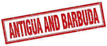 antigua and barbuda: Antigua And Barbuda red square grunge stamp on white