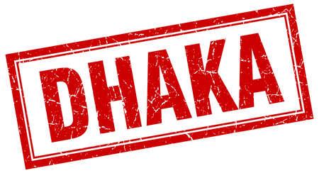 dhaka: Dhaka red square grunge stamp on white