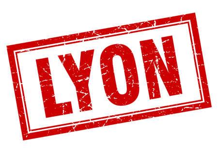 lyon: Lyon red square grunge stamp on white Illustration
