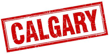 calgary: Calgary red square grunge stamp on white