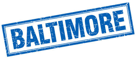 baltimore: Baltimore blue square grunge stamp on white Illustration
