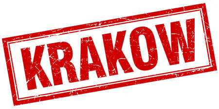 Cracovie rouge grunge carré timbre sur blanc Banque d'images - 55487688