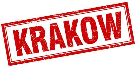 krakow: Krakow red square grunge stamp on white Illustration