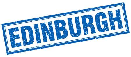edinburgh: Edinburgh blue square grunge stamp on white Illustration