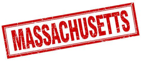 massachusetts: Massachusetts red square grunge stamp on white