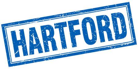 hartford: Hartford blue square grunge stamp on white Illustration