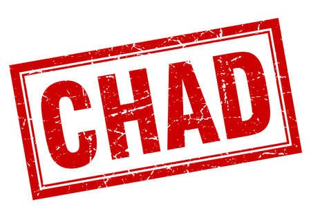 chad: Chad red square grunge stamp on white Illustration