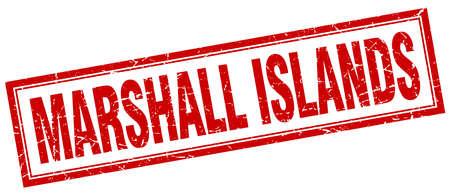 marshall: Marshall Islands red square grunge stamp on white Illustration