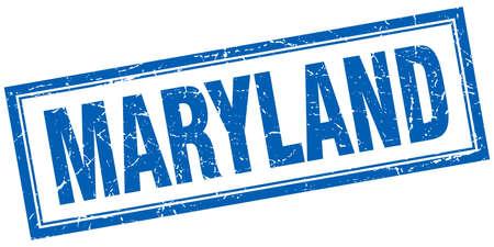 maryland: Maryland blue square grunge stamp on white Illustration