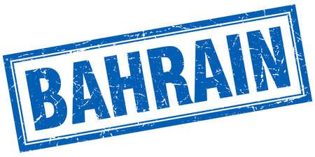 bahrain: Bahrain blue square grunge stamp on white Illustration