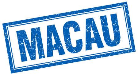 macau: Macau blue square grunge stamp on white
