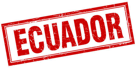 ecuador: Ecuador red square grunge stamp on white Illustration