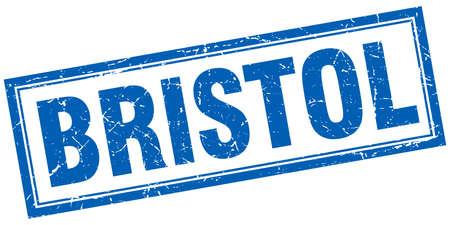 bristol: Bristol blue square grunge stamp on white