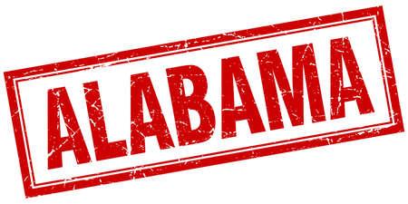 alabama: Alabama red square grunge stamp on white