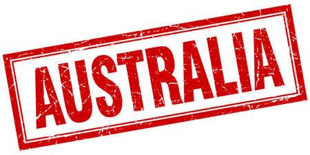 australia stamp: Australia red square grunge stamp on white Illustration