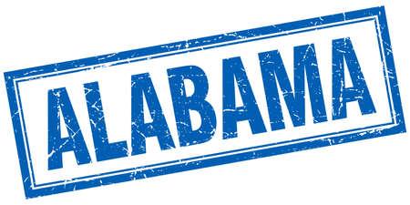 Alabama: Alabama blue square grunge stamp on white