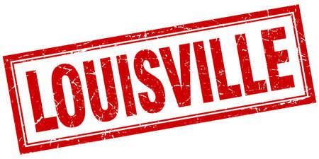 louisville: Louisville red square grunge stamp on white