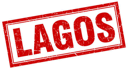 lagos: Lagos red square grunge stamp on white