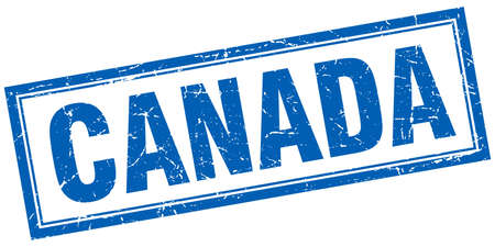 canada stamp: Canada blue square grunge stamp on white