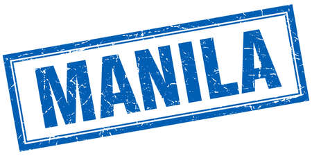 manila: Manila blue square grunge stamp on white Illustration