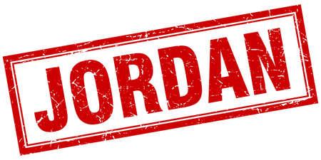 jordan: Jordan red square grunge stamp on white