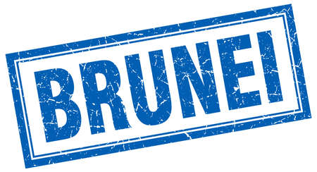 brunei: Brunei blue square grunge stamp on white