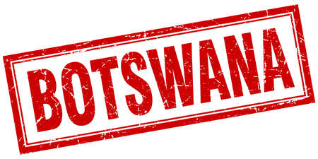 botswana: Botswana red square grunge stamp on white Illustration