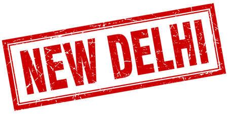 new delhi: New Delhi red square grunge stamp on white