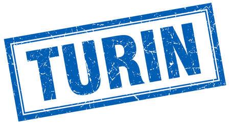 turin: Turin blue square grunge stamp on white