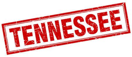tennesse: Tennessee sello rojo del cuadrado del grunge en blanco
