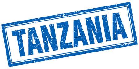 tanzania: Tanzania blue square grunge stamp on white