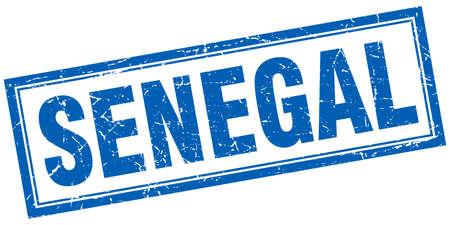 senegal: Senegal blue square grunge stamp on white