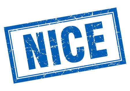 nice: Nice blue square grunge stamp on white