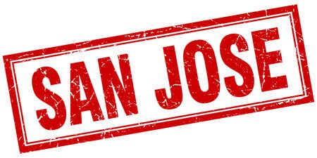 san jose: San Jose red square grunge stamp on white