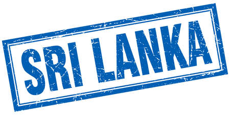 sri lanka: Sri Lanka blue square grunge stamp on white Illustration