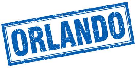 orlando: Orlando blue square grunge stamp on white Illustration