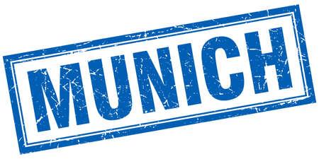 munich: Munich blue square grunge stamp on white