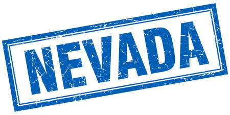 nevada: Nevada blue square grunge stamp on white